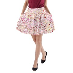 Ornamental Pattern With Hearts And Flowers  A Line Pocket Skirt by TastefulDesigns