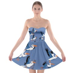 Abstract Pelicans Seascape Tropical Pop Art Strapless Dresses by WaltCurleeArt