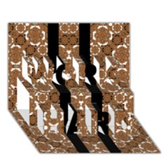 Orange And Black Boho Stripes Work Hard 3d Greeting Card (7x5)  by dflcprints
