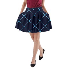 Seamless geometric blue Dots pattern  A-Line Pocket Skirt by TastefulDesigns