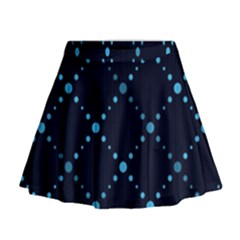 Seamless geometric blue Dots pattern  Mini Flare Skirt by TastefulDesigns