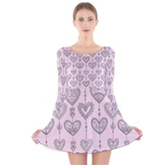 Sketches Ornamental Hearts Pattern Long Sleeve Velvet Skater Dress by TastefulDesigns