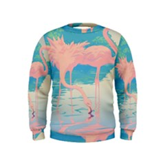 Two Pink Flamingos Pop Art Kids  Sweatshirt by WaltCurleeArt