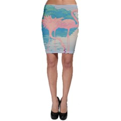 Two Pink Flamingos Pop Art Bodycon Skirts by WaltCurleeArt