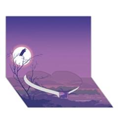 Abstract Tropical Birds Purple Sunset Heart Bottom 3d Greeting Card (7x5)  by WaltCurleeArt