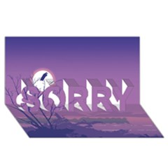 Abstract Tropical Birds Purple Sunset Sorry 3d Greeting Card (8x4)  by WaltCurleeArt