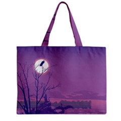 Abstract Tropical Birds Purple Sunset Mini Tote Bag by WaltCurleeArt