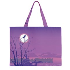 Abstract Tropical Birds Purple Sunset Zipper Large Tote Bag by WaltCurleeArt
