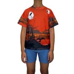 Tropical Birds Orange Sunset Landscape Kid s Short Sleeve Swimwear by WaltCurleeArt