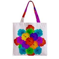 Flowes Collage Ornament Zipper Grocery Tote Bag by dflcprints