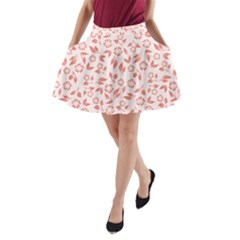 Red Seamless Floral Pattern A Line Pocket Skirt by TastefulDesigns