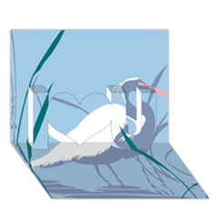 Egret I Love You 3d Greeting Card (7x5)  by WaltCurleeArt