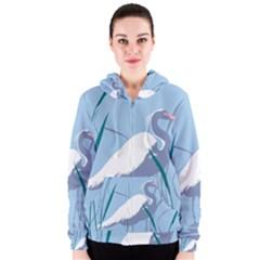 Egret Women s Zipper Hoodie by WaltCurleeArt