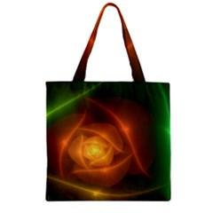 Orange Rose Zipper Grocery Tote Bag by Delasel