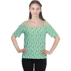 Seamless Lines And Feathers Pattern Women s Cutout Shoulder Tee