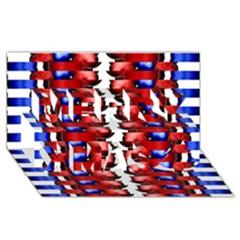 The Patriotic Flag Merry Xmas 3D Greeting Card (8x4)  by SugaPlumsEmporium