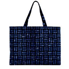 Woven1 Black Marble & Blue Marble Zipper Mini Tote Bag by trendistuff