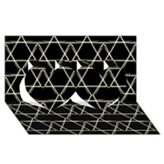 Star Of David   Twin Hearts 3d Greeting Card (8x4)  by SugaPlumsEmporium