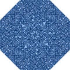 Brick2 Black Marble & Blue Marble (r) Hook Handle Umbrella (large) by trendistuff