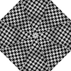 Houndstooth2 Black Marble & Silver Brushed Metal Straight Umbrella by trendistuff