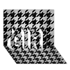 Houndstooth1 Black Marble & Silver Brushed Metal Girl 3d Greeting Card (7x5) by trendistuff