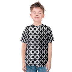Circles3 Black Marble & Silver Brushed Metal Kids  Cotton Tee by trendistuff
