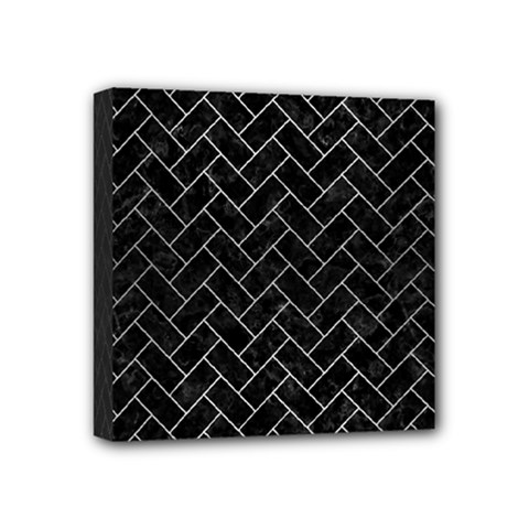 Brick2 Black Marble & Silver Brushed Metal Mini Canvas 4  X 4  (stretched) by trendistuff
