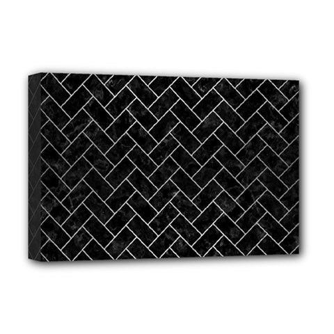 Brick2 Black Marble & Silver Brushed Metal Deluxe Canvas 18  X 12  (stretched) by trendistuff
