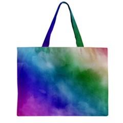 Rainbow Watercolor Zipper Mini Tote Bag