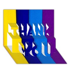 Rainbow Painting On Wood Thank You 3d Greeting Card (7x5)  by StuffOrSomething