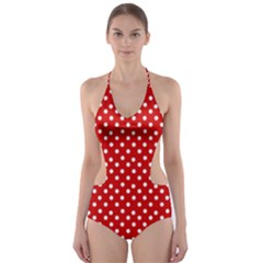 Dots Red Cut-Out One Piece Swimsuit