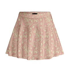 Girly Pink Leaves And Swirls Ornamental Background Mini Flare Skirt by TastefulDesigns