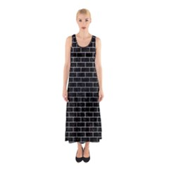 Brick1 Black Marble & Silver Brushed Metal Sleeveless Maxi Dress by trendistuff