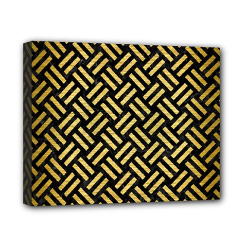Woven2 Black Marble & Gold Brushed Metal Canvas 10  X 8  (stretched) by trendistuff