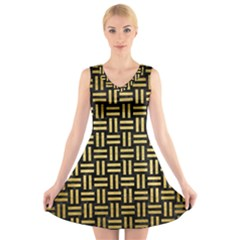WOV1 BK MARBLE GOLD V-Neck Sleeveless Skater Dress