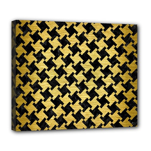 Houndstooth2 Black Marble & Gold Brushed Metal Deluxe Canvas 24  X 20  (stretched) by trendistuff