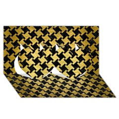 Houndstooth2 Black Marble & Gold Brushed Metal Twin Hearts 3d Greeting Card (8x4) by trendistuff