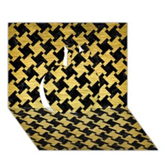 Houndstooth2 Black Marble & Gold Brushed Metal Apple 3d Greeting Card (7x5) by trendistuff