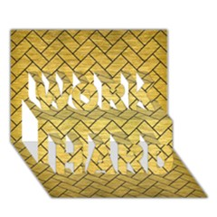 Brick2 Black Marble & Gold Brushed Metal (r) Work Hard 3d Greeting Card (7x5) by trendistuff