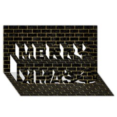 Brick1 Black Marble & Gold Brushed Metal Merry Xmas 3d Greeting Card (8x4) by trendistuff