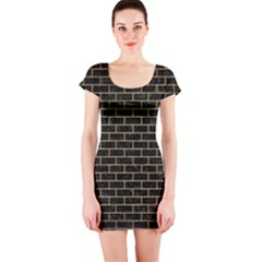 Brick1 Black Marble & Gold Brushed Metal Short Sleeve Bodycon Dress by trendistuff