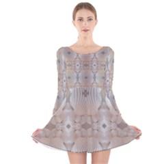 Romantic Pattern from Sea Shells Summer, Festive Wedding Bridal Long Sleeve Velvet Skater Dress by yoursparklingshop