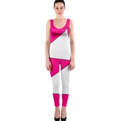 Funny Hot Pink White Geometric Triangles Kids Art Onepiece Catsuit by yoursparklingshop