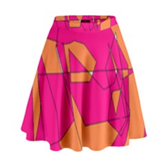 Funny Hot Pink Orange Kids Art High Waist Skirt by yoursparklingshop
