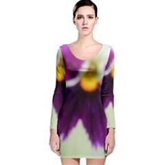 Purple Violet White Flower  Long Sleeve Velvet Bodycon Dress by yoursparklingshop