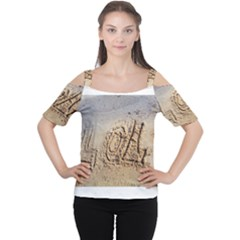 Lol, Lots Of Love On The Beach Women s Cutout Shoulder Tee by yoursparklingshop
