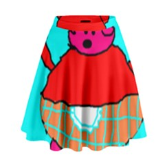 Funny Pig in Summer Red Blue Pink Kids Art High Waist Skirt by yoursparklingshop