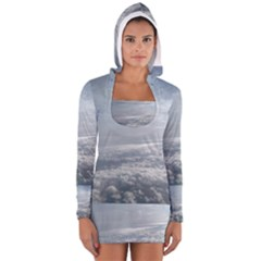 Sky Plane View Women s Long Sleeve Hooded T-shirt by yoursparklingshop