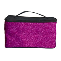 Metallic Pink Glitter Texture Cosmetic Storage Cases by yoursparklingshop
