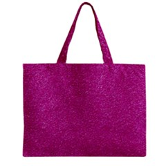 Metallic Pink Glitter Texture Zipper Mini Tote Bag by yoursparklingshop